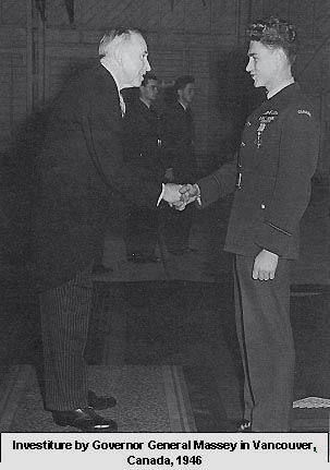 Investiture by Governor General Massey,  Vancouver, Canada 1946